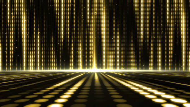 golden stage light background - disco lights stock photos and pictures