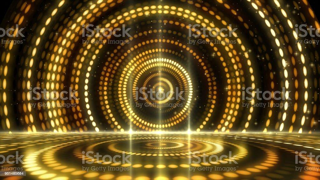 Golden Stage Lightings Award Background stock photo