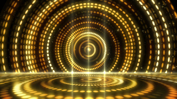 golden stage lightings award background - disco lights stock photos and pictures