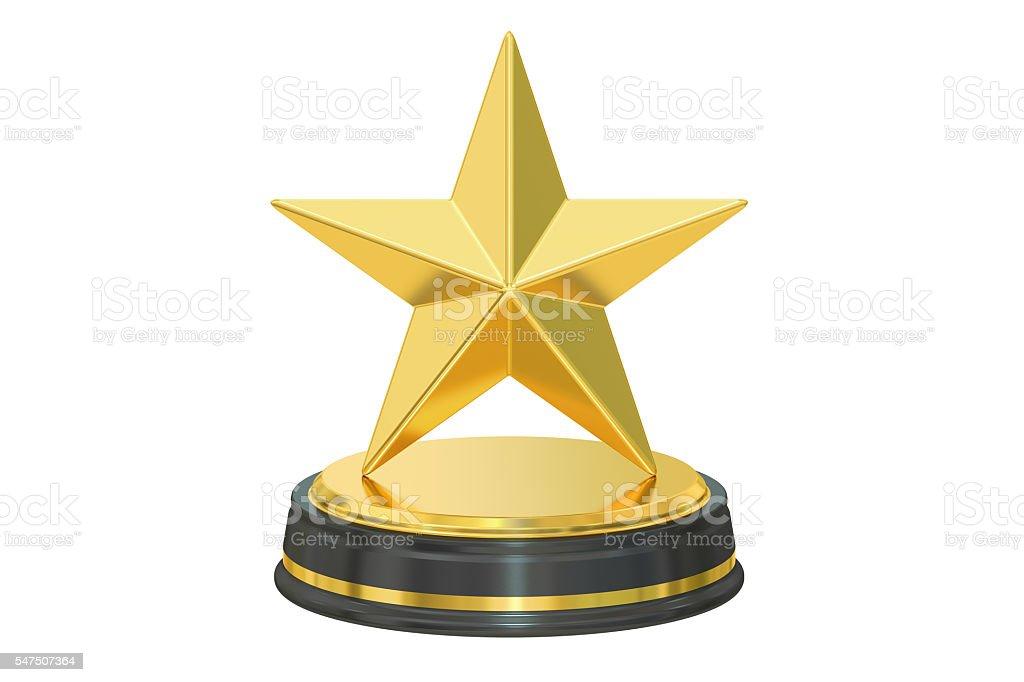 Golden star award, 3D rendering stock photo