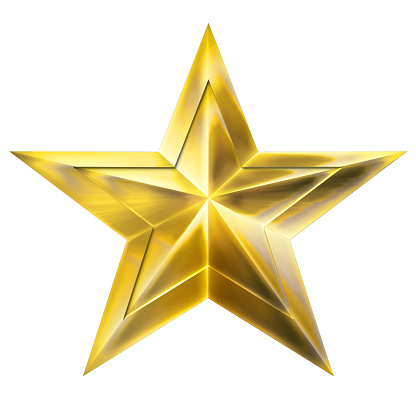 Golden Christmas Star isolated on white Background. Close-Up. 3D illustration.