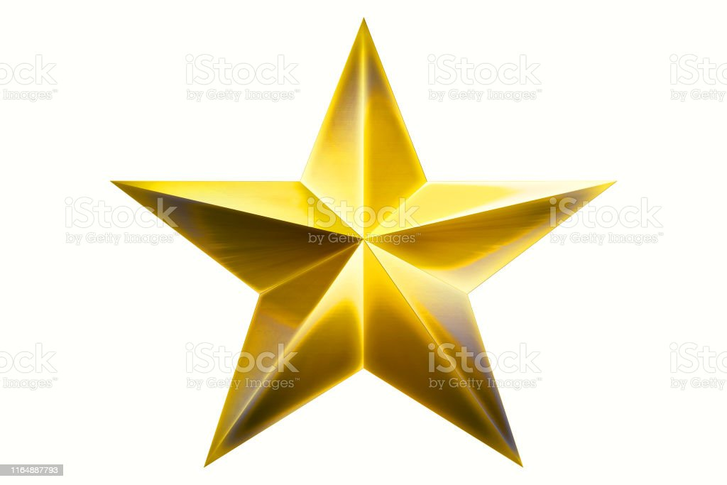Golden Christmas Star isolated on white Background. Close-Up. 3D...