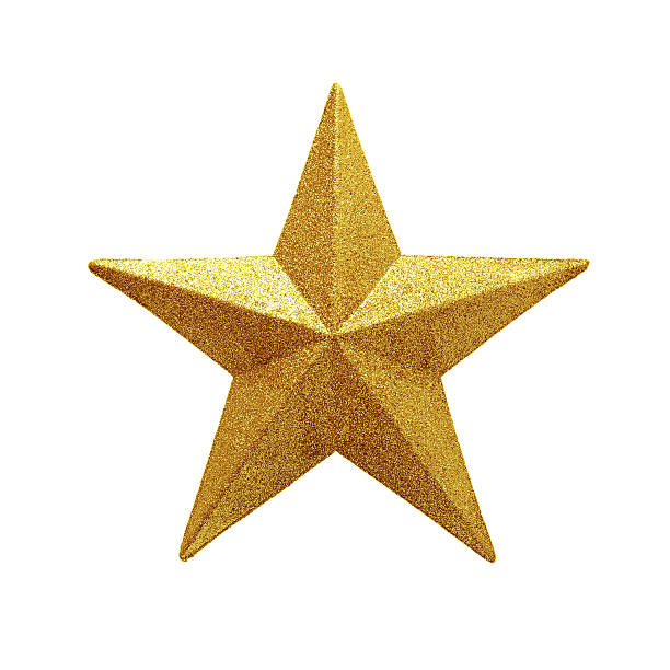 golden star isolated on white background - star shape stock photos and pictures