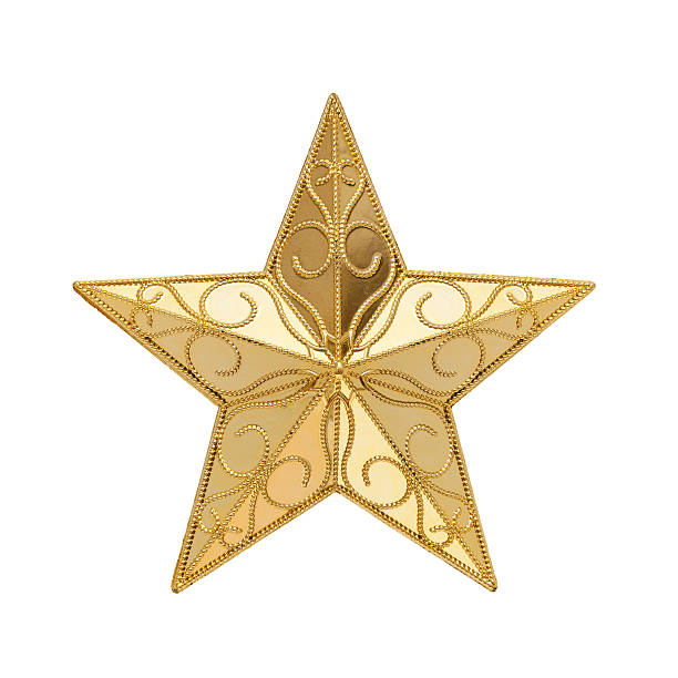 golden star (clipping path!) isolated on white background - christmas decoration golden star bildbanksfoton och bilder