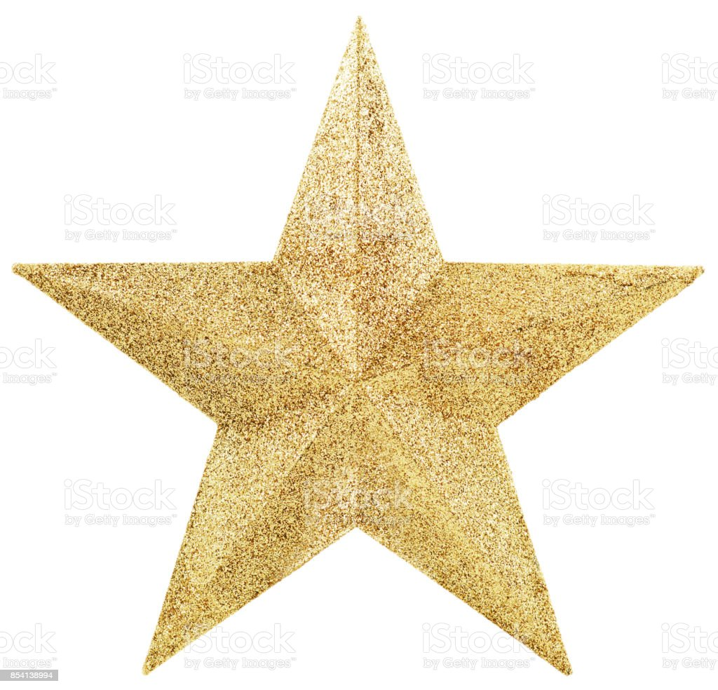 Golden Star Isolated on White stock photo