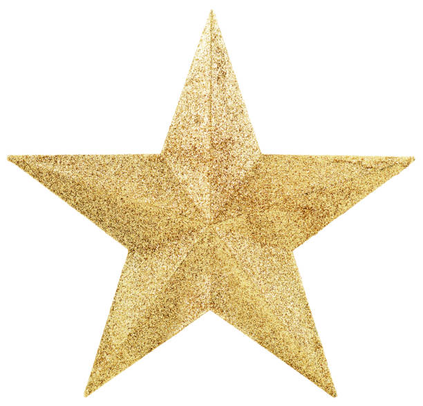 golden star isolated on white - star shape stock photos and pictures