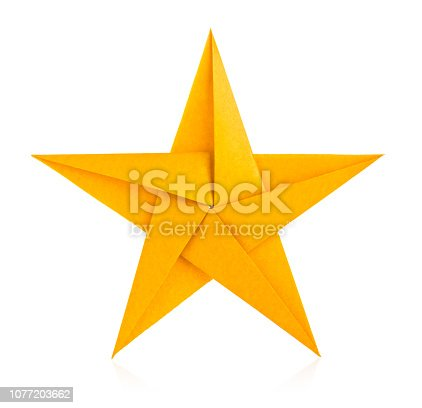 Golden star of origami, isolated on white background.