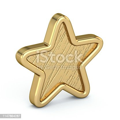 istock Golden star old, scratched 3D 1147864287
