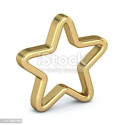 istock Golden star old, scratched, outlined 3D 1147864265