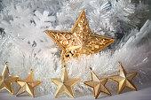 Golden Star on white background