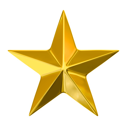 Golden Star On White Background With Clipping Path Stock Photo - Download Image Now