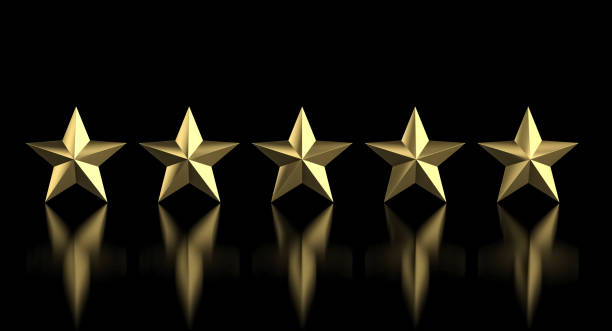 5 golden star 5 golden star quality concept 3d rendering image first class stock pictures, royalty-free photos & images