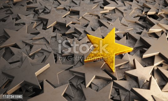 Scratched golden star standing out from gray colored stars. ( 3d render )