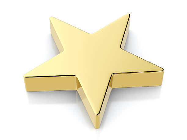 Royalty Free Star Shape Gold Three Dimensional Shape Sign Pictures