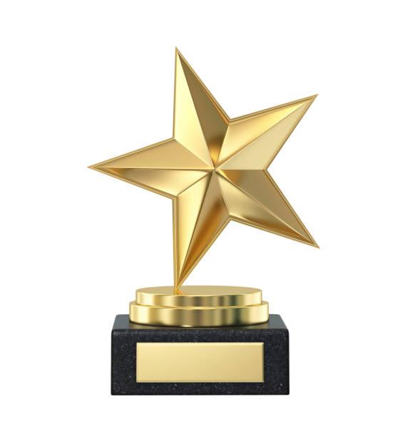 prêmio troféu de ouro estrela isolado no branco - troféu - fotografias e filmes do acervo
