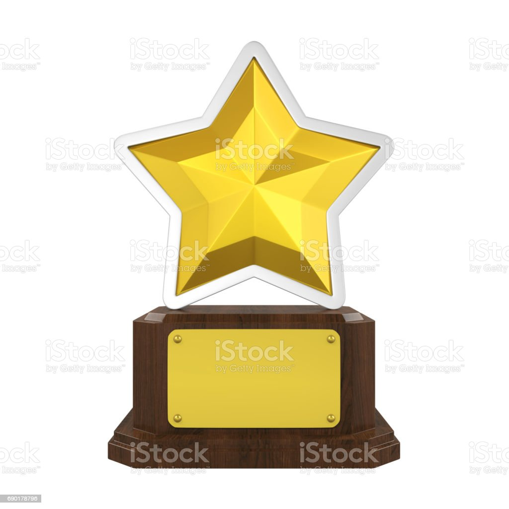Golden Star Trophy Isolated stock photo