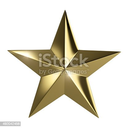 istock Golden star with clipping path 492042458