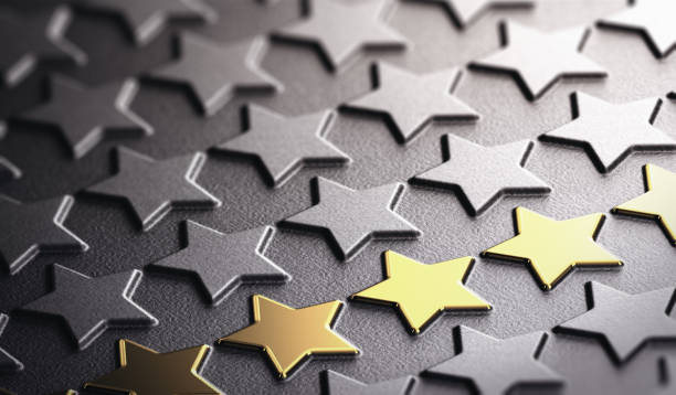 Golden Stars Background Symbol of Excellence stock photo