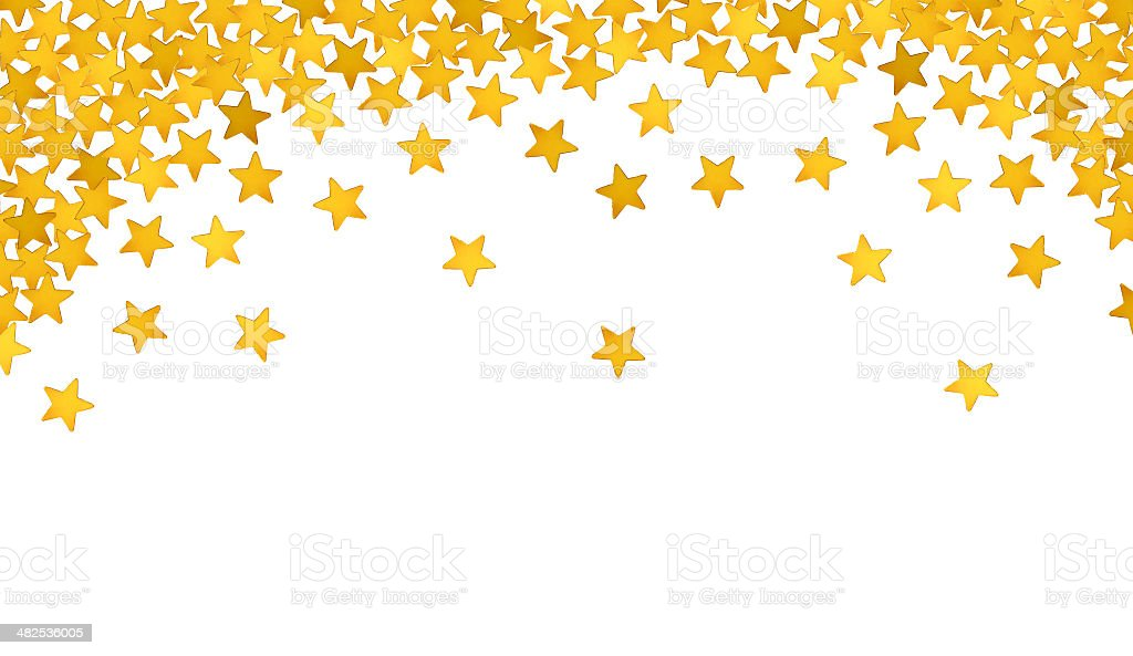 Golden stars in the form of confetti on white stock photo