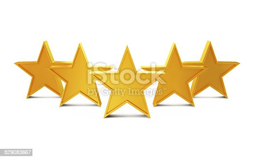 istock Golden Stars Isolated on White Background 529083667