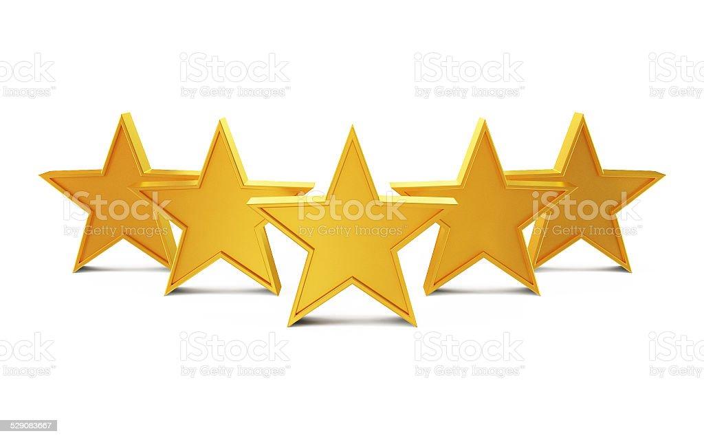 Golden Stars Isolated on White Background stock photo