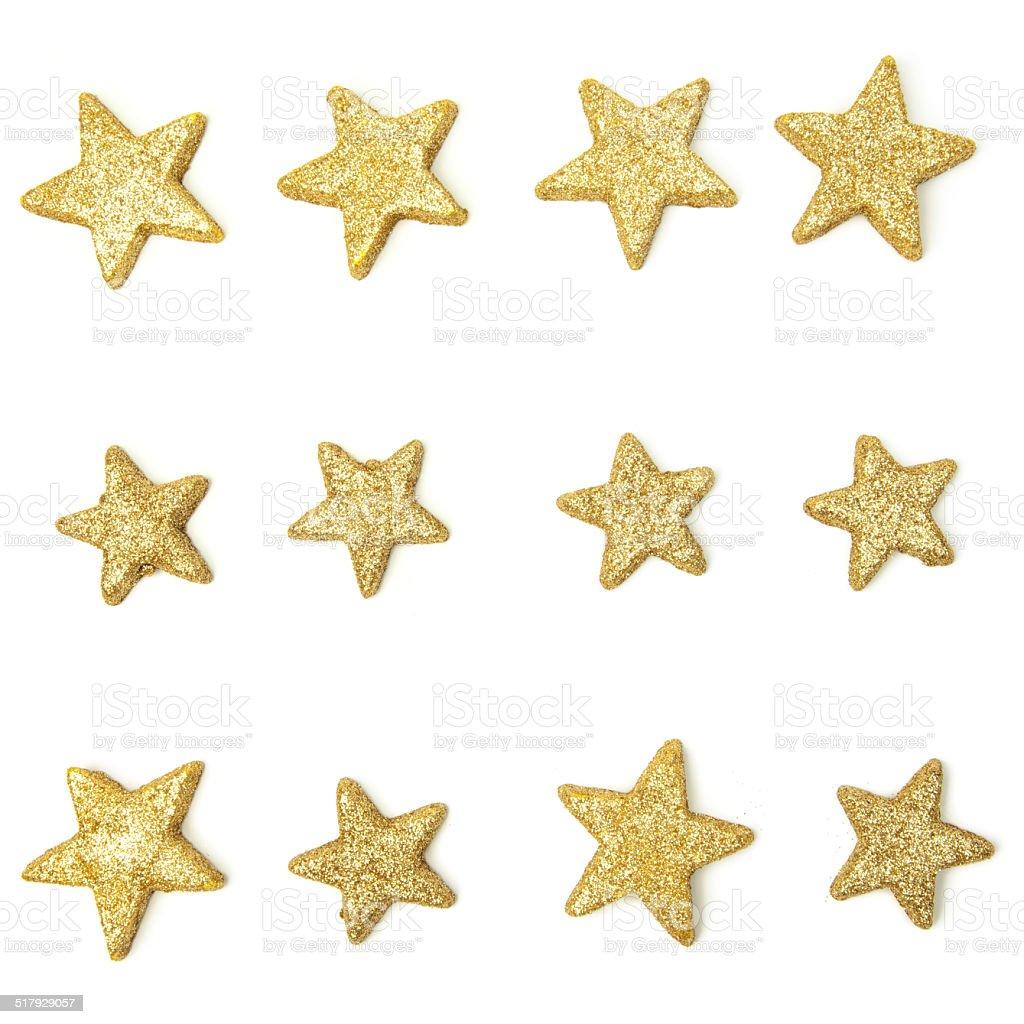 Goldene Sterne-isoliert auf weiss – Foto