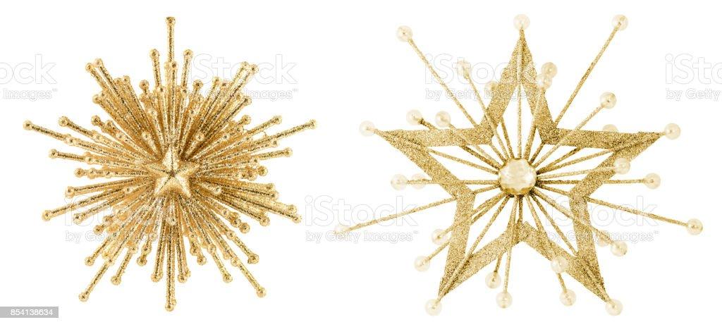 Golden Stars Isolated on White stock photo
