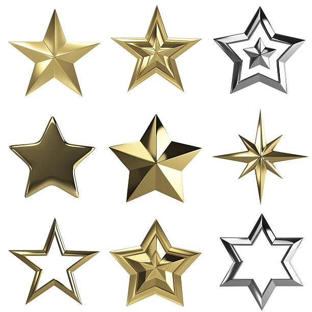 golden stars - isolated - christmas decoration golden star bildbanksfoton och bilder
