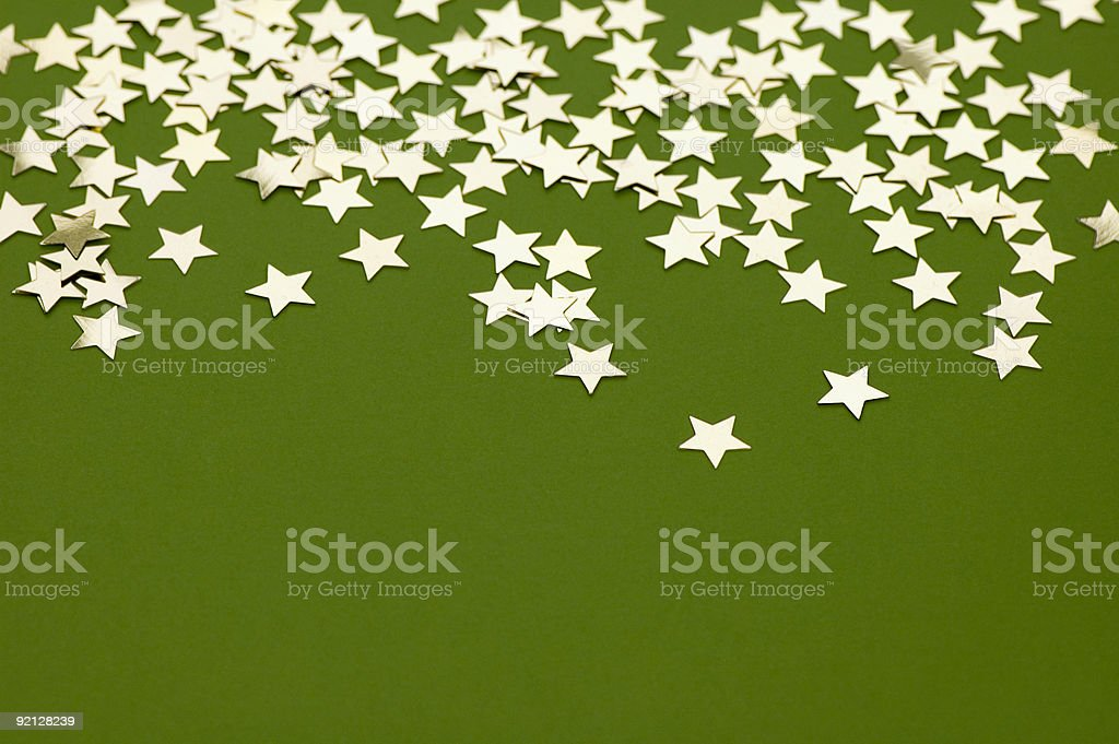 Golden Stars on Green royalty-free stock photo