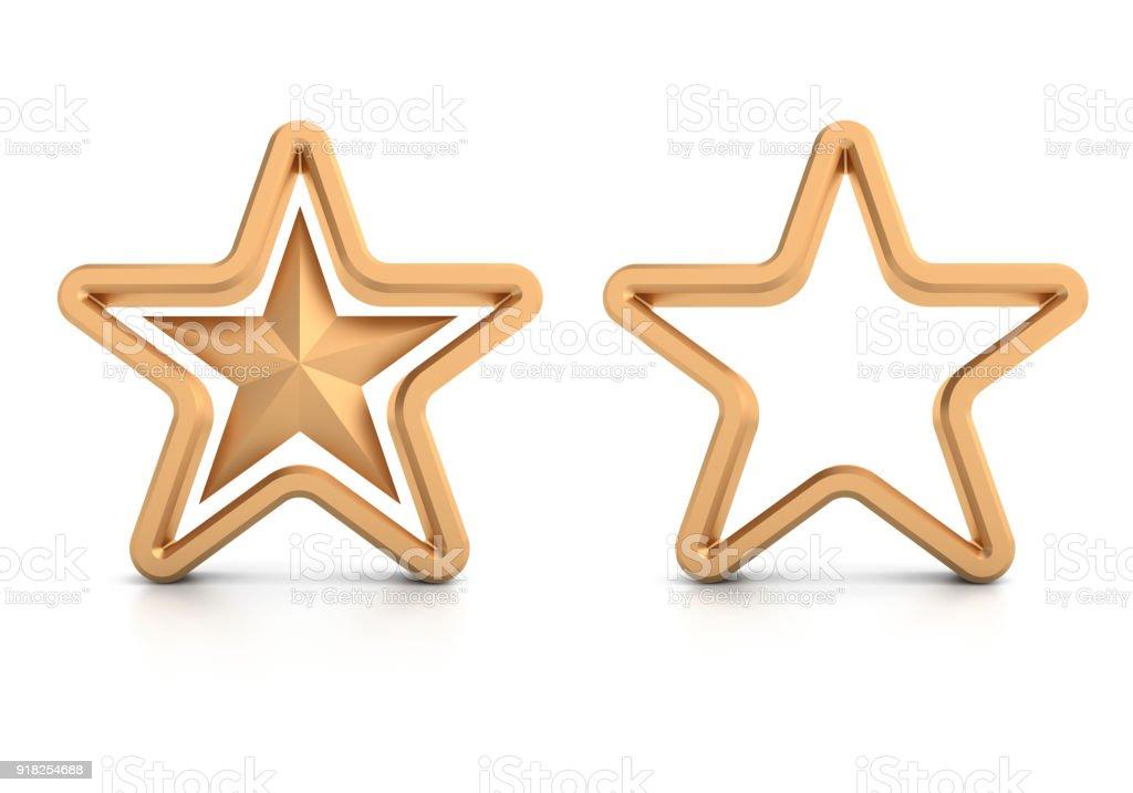 Golden stars on white background stock photo