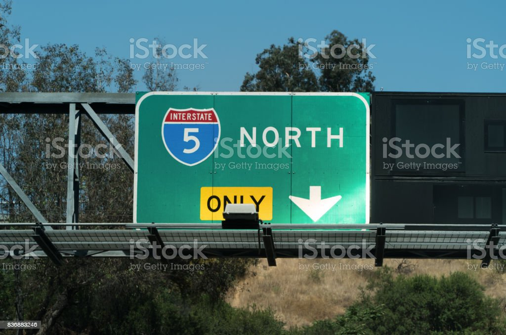 Golden State Freeway Sign stock photo