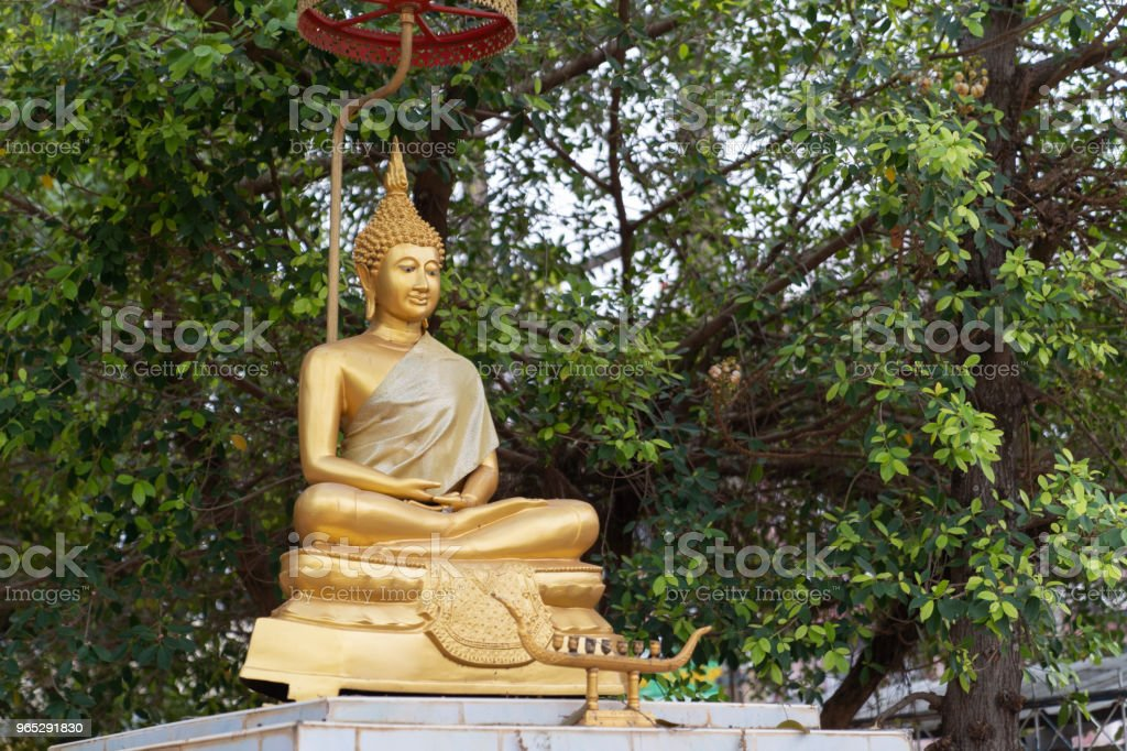 Golden Statue Buddha on bokeh tree background. royalty-free stock photo
