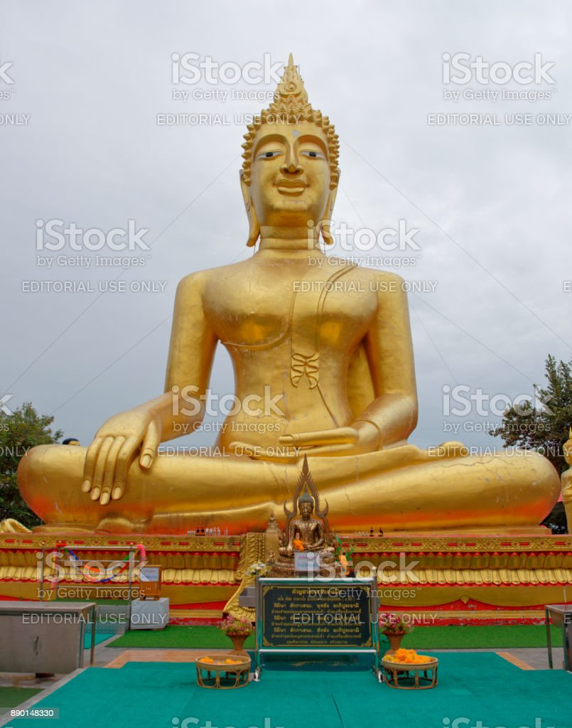 Golden Statue Of Buddha in Wat Phra Yai,The Big Buddha Temple At Pattaya stock photo