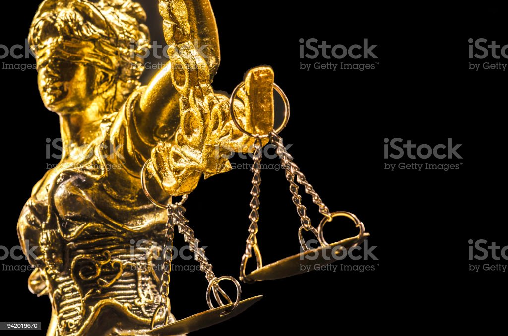 Golden Statue of lady Justice stock photo