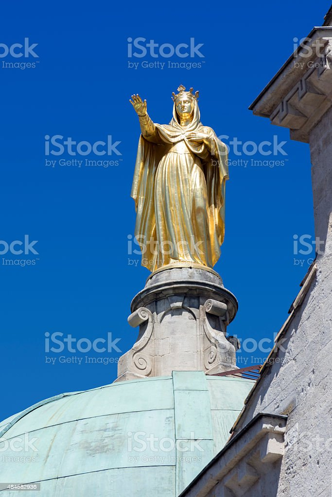 golden statue of Saint Anne, Cathedral of Apt, France stock photo