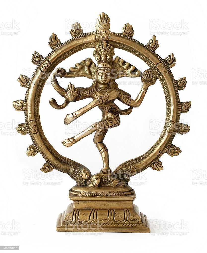 Golden statue of the god Shiva over a white background royalty-free stock photo