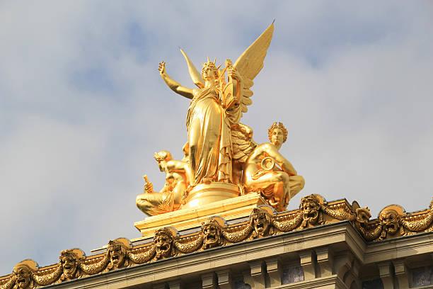Golden statue, Opera Garnier, Paris. stock photo