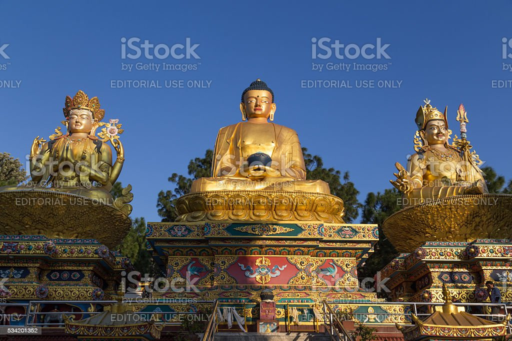 Golden statues in Amideva Buddha Park, Kathmandu stock photo