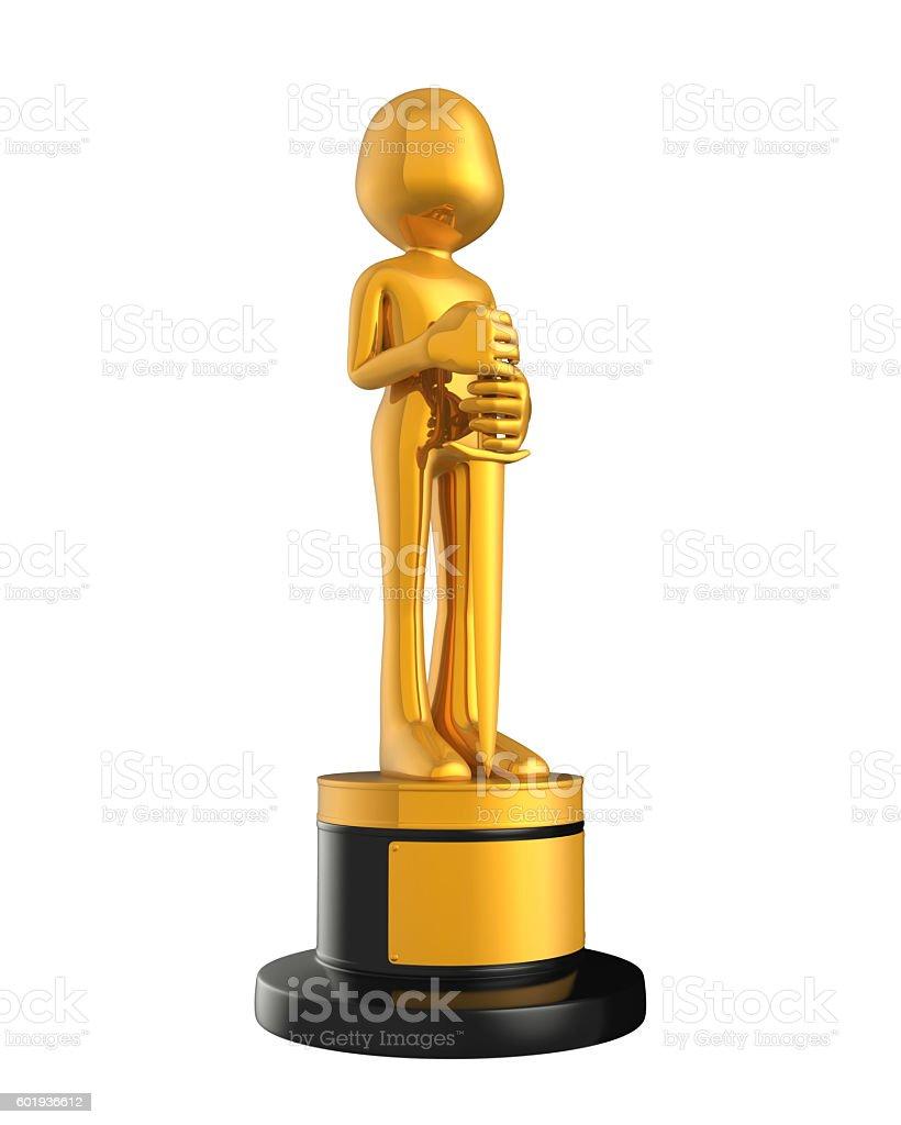 Golden Statuette Award stock photo