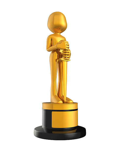 golden statuette award - oscar filme stock-fotos und bilder