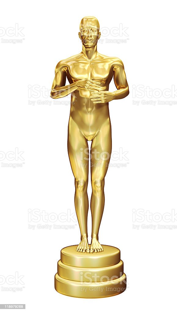 Golden statuette. stock photo