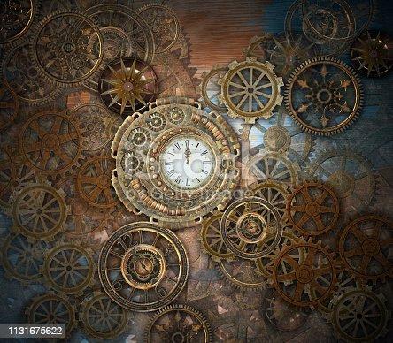 Golden steampunk background featuring an intricate clockwork