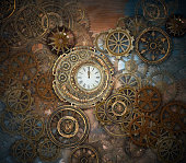 Golden steampunk background featuring an intricate clockwork