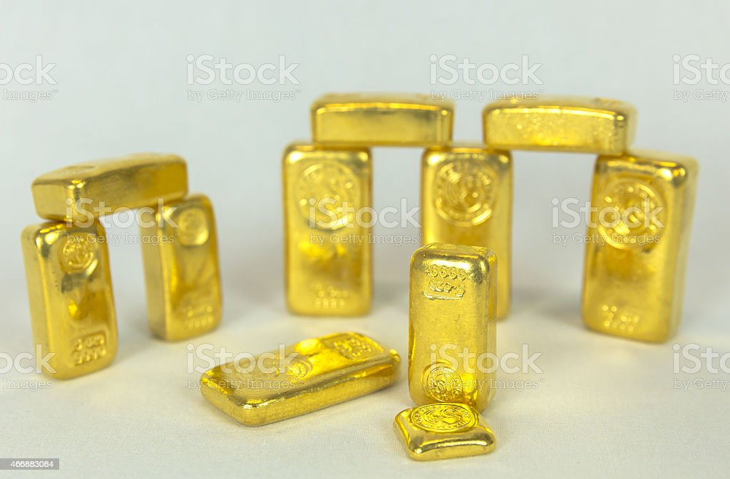 Golden Stonehenge in Composition stock photo