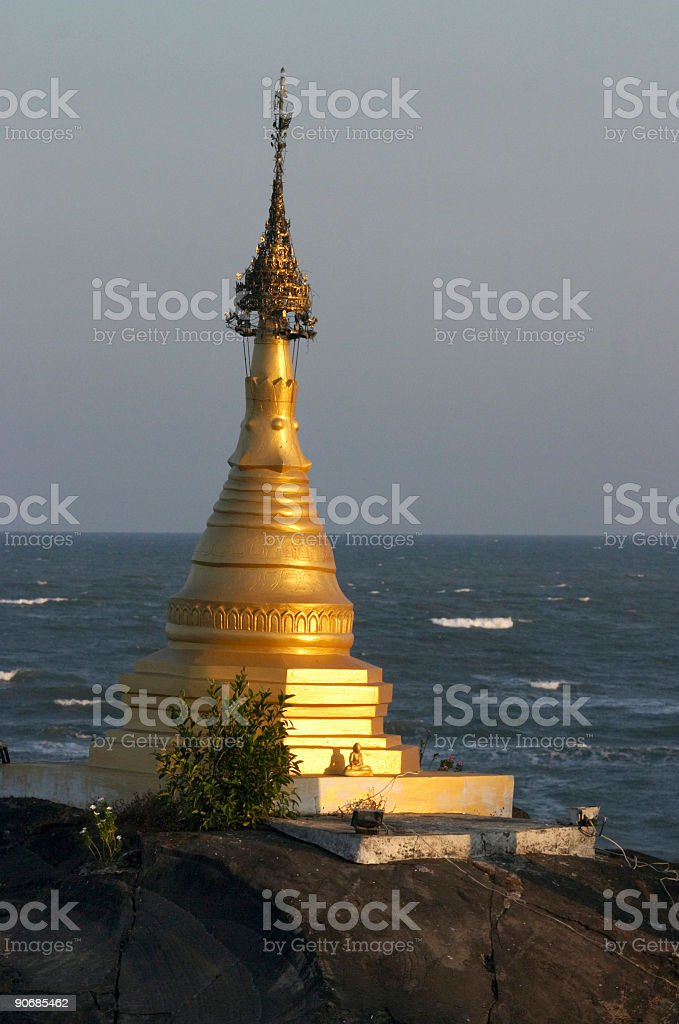 Golden Stupa and Ocean royalty-free stock photo