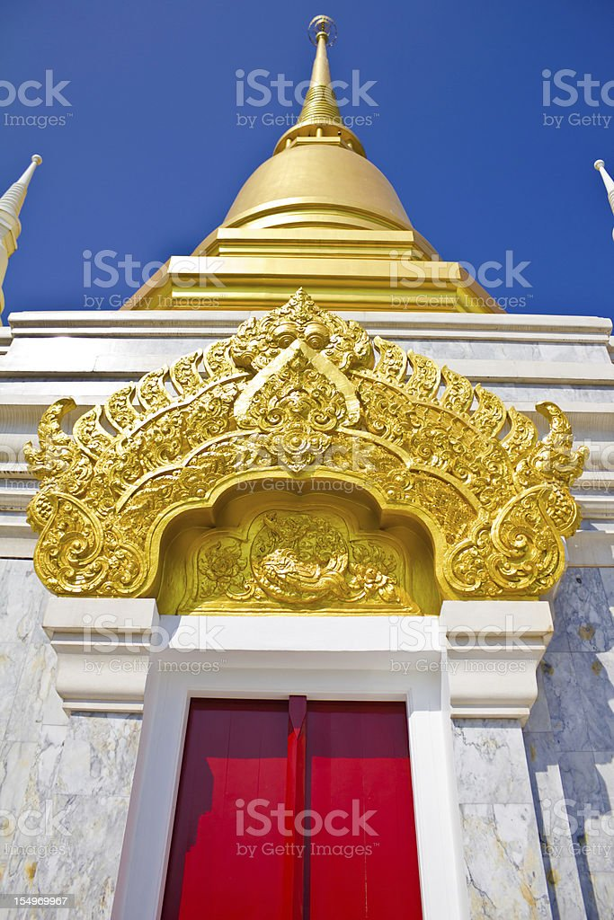 Golden stupa, Temple at Chiang Rai, Thailand royalty-free stock photo