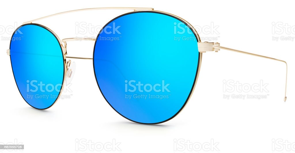 golden sunglasses  blue mirror lenses  isolated on white background stock photo
