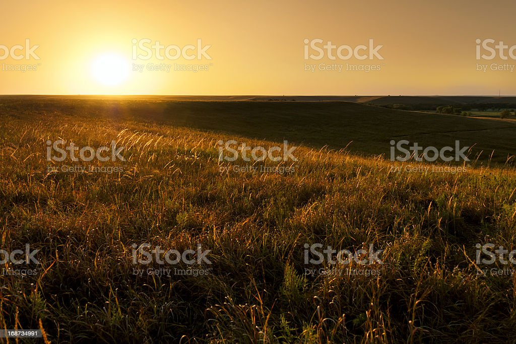 Golden Sunrise At Kansas Tallgrass Prairie Preserve National Park stock photo
