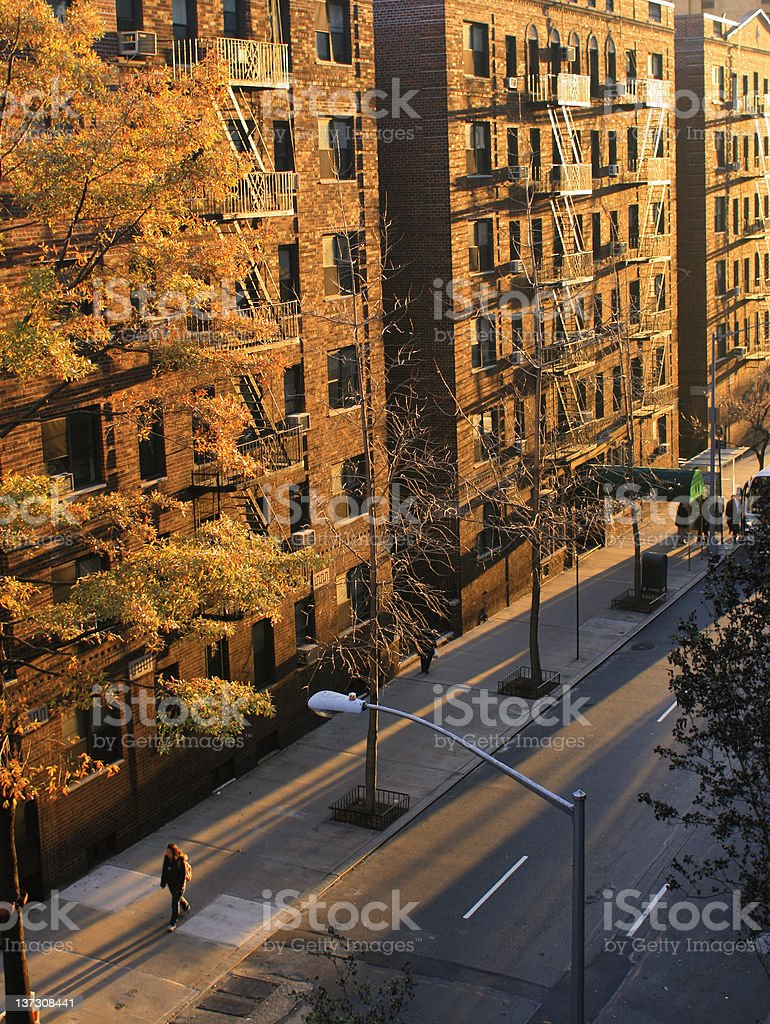 Golden Sunrise in New York City - Long Shadows royalty-free stock photo