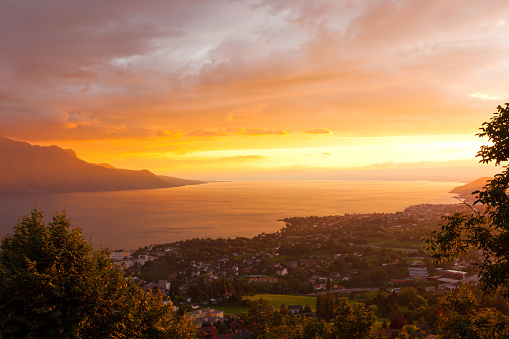 golden sunrise of Montreux and Lausanne city